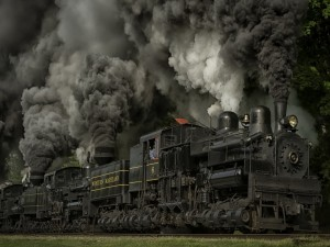 Denso humo saliendo de un tren de vapor