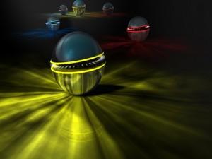 Varias esferas con un efecto de movimiento