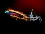 Pez lobo envuelto en fuego y agua