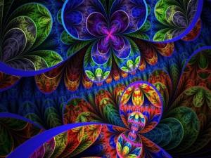 Postal: Imagen floral en varios colores