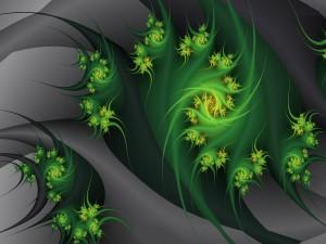 Patrón de espirales en color verde sobre un fondo gris