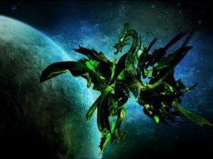 Un dragón volando por el espacio