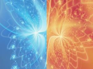 Imagen dividida en dos colores con pequeñas figuras