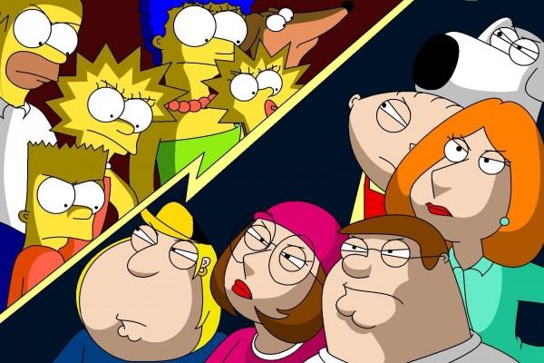 Miradas de rivalidad entre la familia Simpson y la familia Griffin