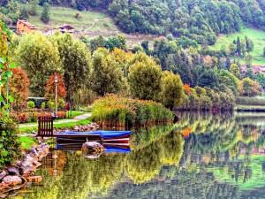 Árboles y barca reflejados en un lago