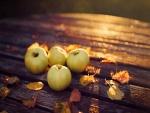 Manzanas amarillas junto a unas hojas otoñales