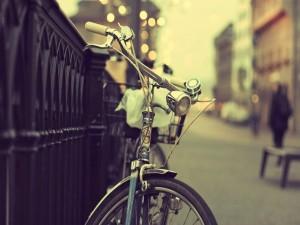 Bicicleta junto a una valla