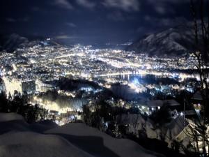 Noche invernal en una ciudad