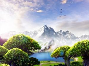 Hermoso paisaje de fantasía