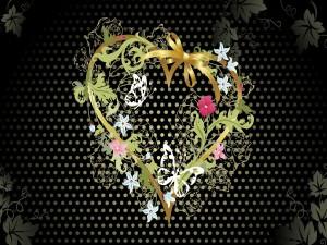 Corazón rodeado de flores y mariposas