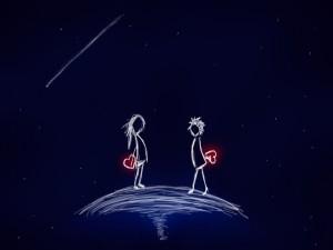 Dos enamorados caminando uno hacia el otro