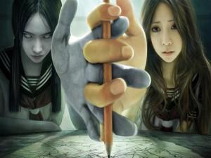 El bien y el mal intentando tomar un lápiz a la vez