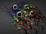 Varias bolas rodeadas por líneas de colores