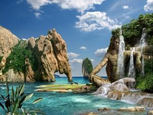 Estatuas y rocas en un fantástico lugar