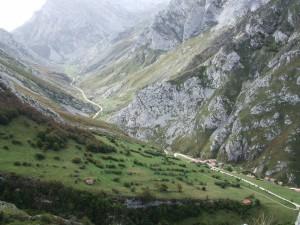 Carretera vista desde una montaña (Parque Nacional de los Picos de Europa)