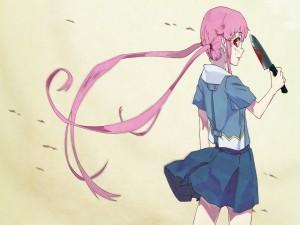 Yuno con un cuchillo (Mirai Nikki)