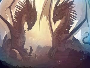 Pareja de dragones observando a su pequeño
