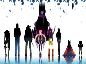 "Yuno Gasai con otros personajes del anime ""Mirai Nikki"""