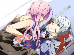 Yuno amenazando a un muchacho con una espada (Mirai Nikki)