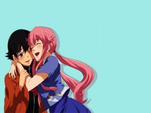 Yuno y Yuki abrazados (Mirai Nikki)