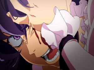 Minene Uryū perdiendo un ojo (Mirai Nikki)