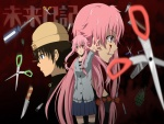 Yuno Gasai y Yukiteru Amano entre tijeras y cuchillos (Mirai Nikki)