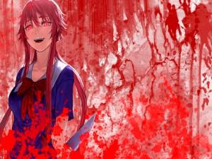Yuno Gasai en estado psicótico (Mirai Nikki)