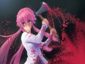 Yuno asesinando con un hacha (Mirai Nikki)