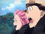 Yuki y Yuno montando en una atracción (Mirai Nikki)