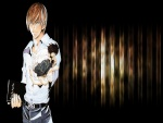 """Light Yagami con un pequeño """"L"""" en la palma de su mano (Death Note)"""
