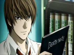 Light Yagami en posesión del cuaderno (Death Note)