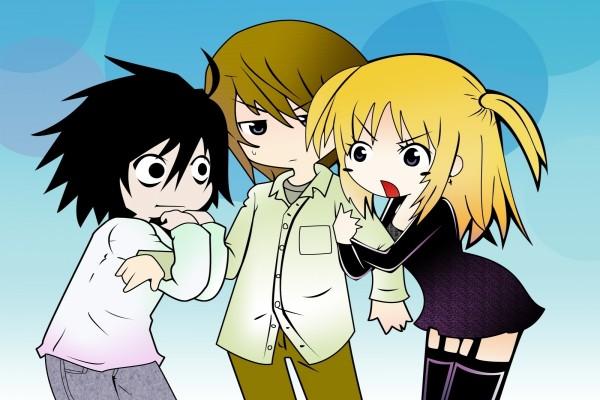 L Lawliet, Light Yagami y Misa Amane (Death Note)