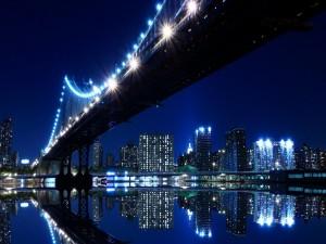 Puente y edificios iluminados en la noche