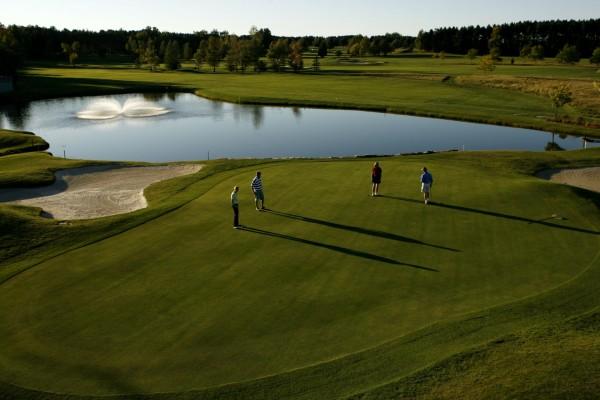 Cuatro personas jugando al golf