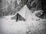 Tienda de campaña cubierta de nieve