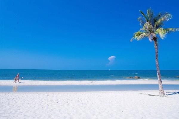 Paseando por una bonita playa