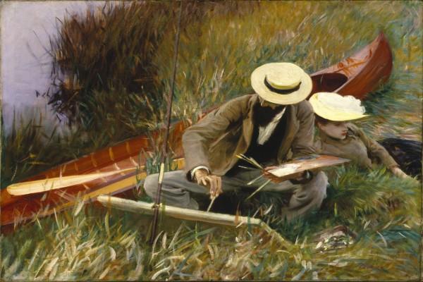 Paul Helleu dibujando con su esposa (retrato de John Singer Sargent)