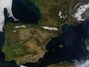 Vista satélite de la Península Ibérica