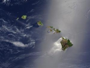 Vista satélite de las islas del archipiélago de Hawái