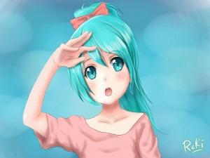 Una joven Miki Hatsune