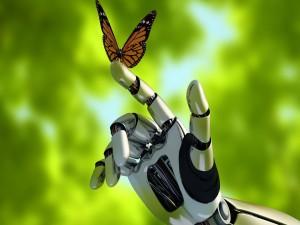 Mariposa posada en el dedo de un robot
