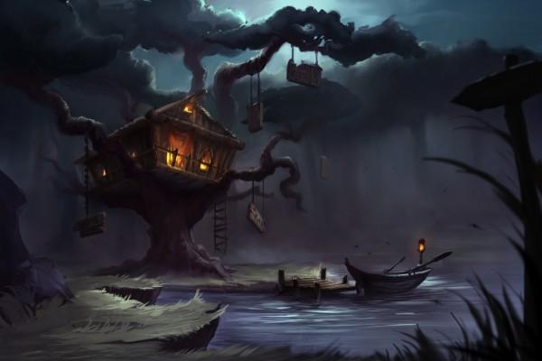 Casa sobre un árbol misterioso en un pantano