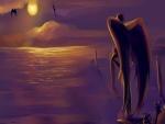 Ángel contemplando la puesta de sol