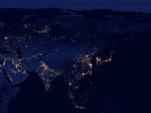 Luces en Asia vistas desde el espacio