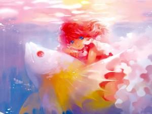 Niña sobre un pez