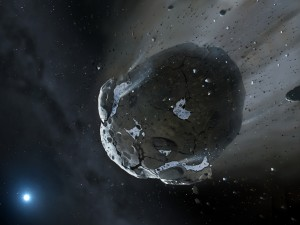 Un gran asteroide viajando por el espacio