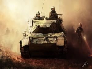 Soldados caminando junto a un tanque