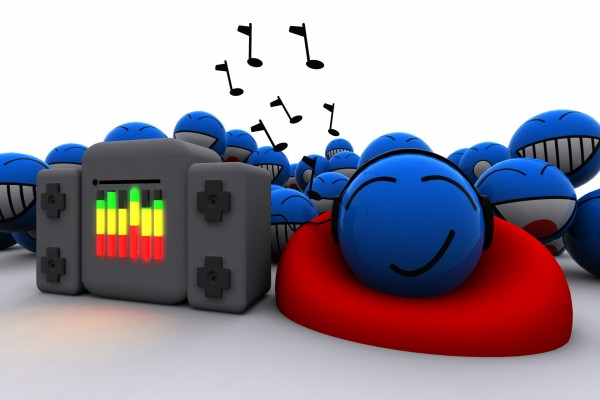 Smileys escuchando música