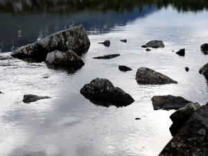 Rocas en el cauce de un río