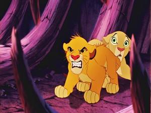 Postal: Simba protegiendo a Nala (El Rey León)